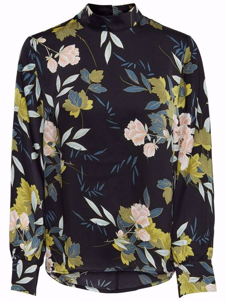 ONLY-FLORAL PRINTED LONG SLEEVED TOP-BLACK