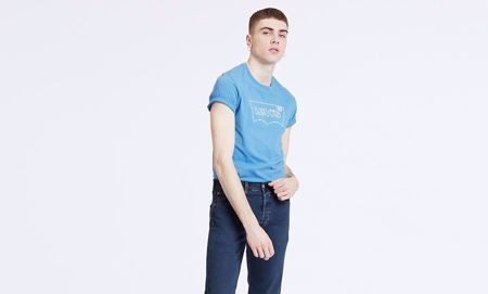 LEVI'S-HOUSEMARK GRAPHIC TEE-BLUE-BLUE