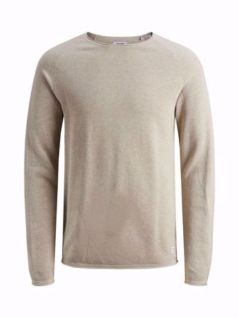 JACK&JONES-TEXTURED KNITTED PULLOVER-OATMEAL