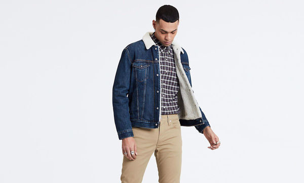 Blå Jakker from Levi's -SHERPA TRUCKER JACKET-PALMER-TUCKER-MEDIUM-INDIGO