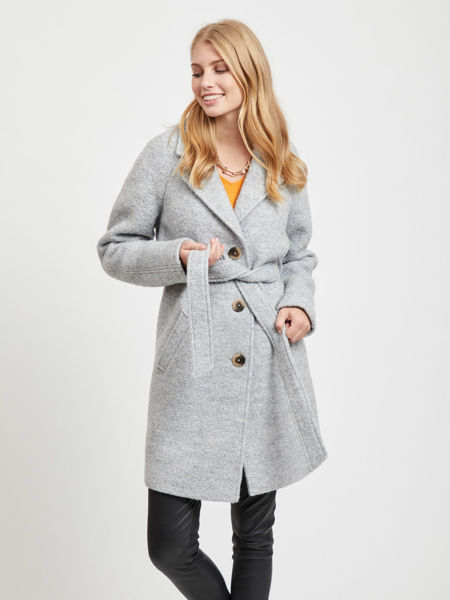 Grå Ullkåper from Vila -ALANIS ULL TRENCHCOAT - LIGHT GREY