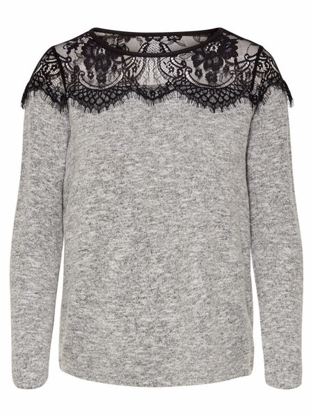 Hvit Gensere & cardigans from Only -BLONDEDETALJ STRIKKET PULLOVER-LIGHT-GREY-MELANGE