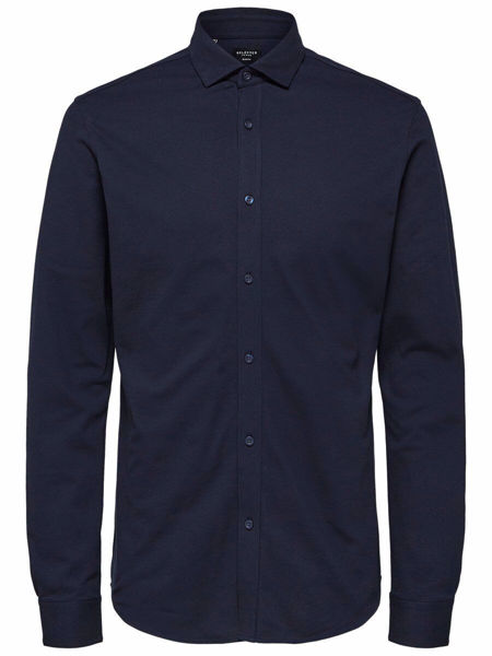 Blå Skjorter from Selected Homme -PLAIN - SHIRT-DARK-SAPPHIRE