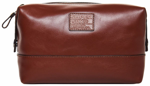 Brun Tilbehør from Superdry -Leather premium toilet-bag -Tan