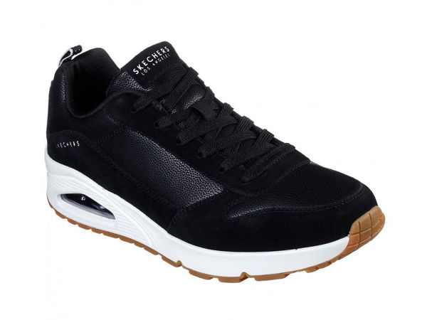 SKECHERS MENS UNO BLACK WHITE