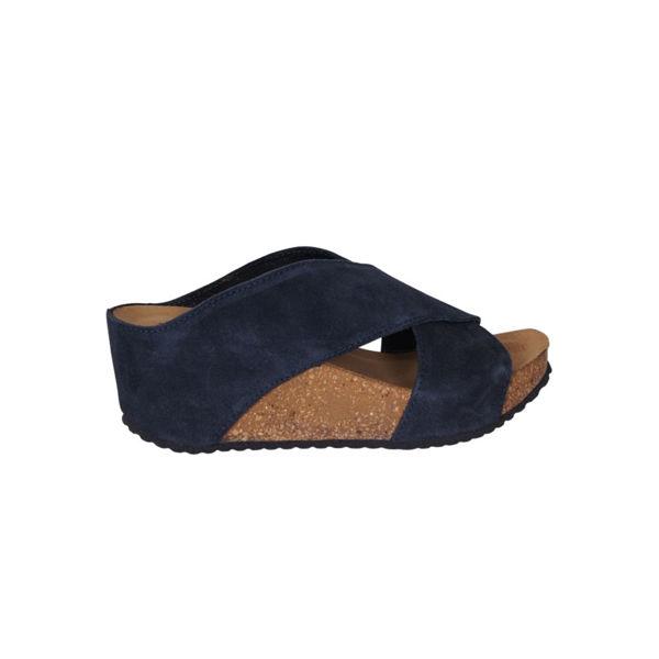 Sandal med kilehæl Mørk blå DAME | H&M NO